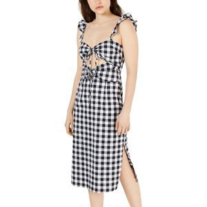 NWT Leyden Midi Dress Cut-Out Tie Front Checkered
